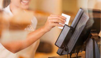 cashier swiping card