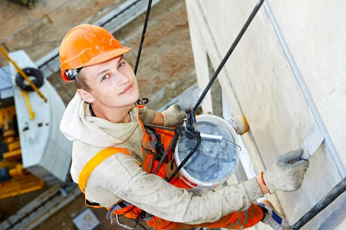 construction worker on rope