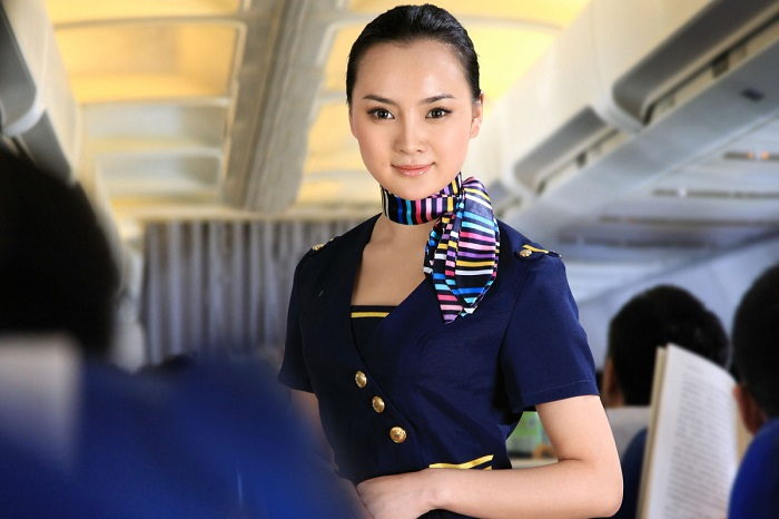 flight attendant on a plane